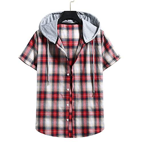 T-Shirt Hombre Verano Moderna Regular Hombre Deportiva Camisa Moda Cuadros Estampado Manga Corta Correr Shirt...