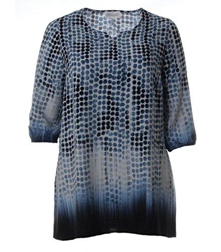 Chalou Damen Tunika Bluse Lange Ärmel elegant lang große Größen Blau Punkte Muster, Größe:44