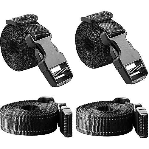 JETEDC(ジェットイデイシイ)Molle スーツケースベルト 荷崩れ防止 調整可能 梱包バンド 反射 丈夫で長持ち (黒(幅2.5cm、4個入り), 長さ:約2.0m)