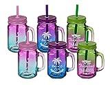 Pullach Hof 6 Stück Trinkglas mit Deckel und Trinkhalm 6er Set Trinkgläser mit Henkel und Schutz...