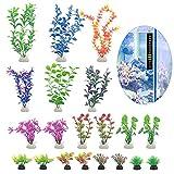 20 plantas artificiales para acuario, de plástico, con termómetro (5 a 30 cm)