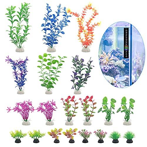 Künstliche Aquarium-Pflanzen, bunt, Kunststoff, Wassergras, Aquarium, Landschaftsdekoration, Ornament mit Thermometer, 5–30 cm, 20 Stück