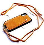 Genuine Vintage Eco-Friendly Leather iPhone Snap-On Case Crossbody - Cell Phone Purse Cross Body w/Wallet ID Card Holder Sleeve, Adjustable Shoulder Strap; iPhone Leash (Tan/Beige, iPhone X/XS/10)