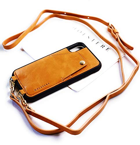 Genuine Vintage Eco-Friendly Leather iPhone Snap-On Case Crossbody - Cell Phone Purse Cross Body w/Wallet ID Card Holder Sleeve, Adjustable Shoulder Strap; iPhone Leash (Tan/Beige, iPhone XR)