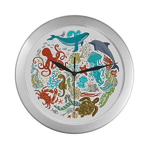 JOCHUAN Reloj de Pared para Hombres Cartoon Sealife Octopus Shark Fish and Tortoise Kids Reloj de Pared 9.65 Pulgadas Silver Quartz Frame Decor para Oficina/Escuela/Cocina/Sala de Estar/Dormitorio