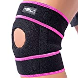 Patella Knee Brace for Arthritis Pain and Support with Side Stabilizers for Meniscus Tear, Women, Men, Acl, Running, Mcl, Tendonitis, Athletic, Lcl - Adjustable Neoprene Open Knee Sleeve -Purple
