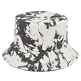 Mimfutu Sombrero de cubo para mujeres y niñas, sombreros reversibles de playa de pescador, Tie Dye Gris Blanco, Talla única