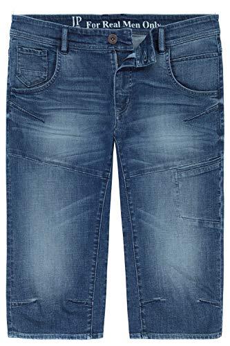 JP 1880 Herren große Größen bis 7XL, 3/4-Jeans-Bermuda, Modisch vorgewaschen, bequem geschnitten, 5-Pocket-Passform, Normale Oberschenkel- und Beinweite, Blue Stone 60 720226 91-60