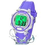 Reloj Niño Niña Digital,7 Colores 50M Impermeables Relojes de Pulsera Infantil,Relojes Deportivos de Pulsera Multifuncionales para Exteriores con Cronómetro/Alarma para Niños 5-15 años (Púrpura)