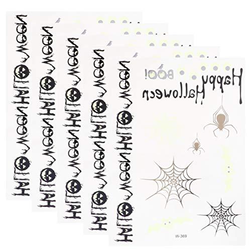 Wakauto 5 Blätter Tattoo Blätter Halloween Tattoo Set Umweltschutz Schweißfest Lustige Cartoon Kinder Tattoos Spinnennetz Muster Tattoo Aufkleber Körper Aufkleber für Kinder