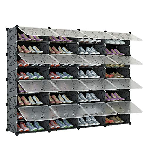 KOUSI Portable Shoe Rack Organizer 64 Pair Tower Shelf Storage Cabinet Stand Expandable for Heels, Boots, Slippers, 12 Tier Black