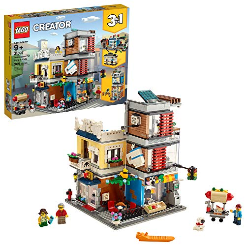 LEGO Creator 3 in 1 Townhouse Pet Shop & Café 31097 Toy Store Building Set with Bank, Town Playset with a Toy Tram, Animal Figures and Minifigures (969 Pieces)