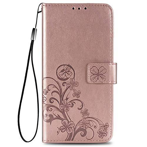 Carcasa Protectora SOUFU para Xiaomi Mi Mix Fold, Sello magnético, Carcasa Protectora de Parachoques de TPU, Hermoso patrón de trébol de Cuatro Hojas, para Xiaomi Mi Mix Fold-Oro Rosa