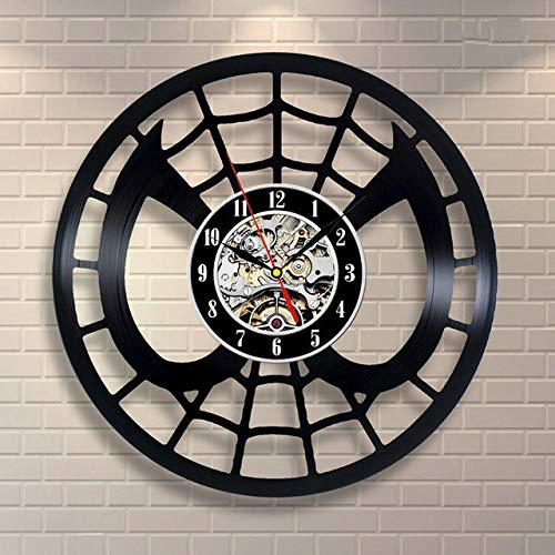 Vinyl Music Record Wall Clock-Handmade Vintage Silhouette Abstract Spider Children'S Room Vinyl Clock Interior Decor Art Clock-No Led Light