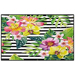 Floral Soft Indoor Large Modern Area Rugs Bouquet with Lily Dahlia Palm Begonia Leaves Orchid Flowers on a Striped Background Nursery Decor Floor Carpet Multicolor 5 x 7 Ft