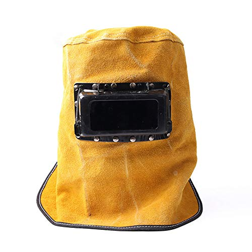RRmxsm Leather Welding Helmet Welding Mask Face Shield Welders Mask Breathable Cowhide Leather Grinding Welding Hood Helmet Mask Head Neck Cover Safety Work Cap with Lens Glasses Flame. Buy it now for 29.99