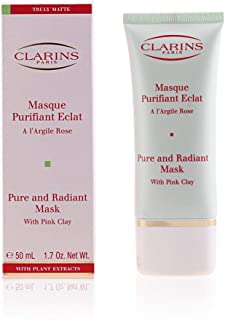Clarins Pure and Radiant Cleanser Mask with Pink Clay for Unisex, 1.7 Ounce