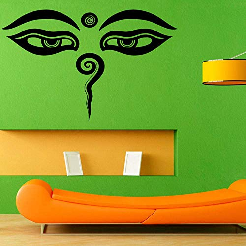 yrmww Indian Buddha Eyes Wall Stickers Home Decor Removable Vinyl Wall Decal Sticker Adhesive Murals Art Design 66X43 cm