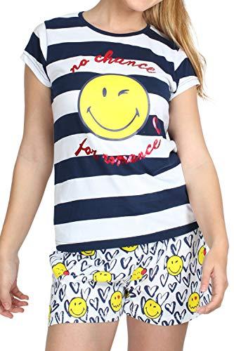 Smiley Pijama Corto listado Mujer (L)