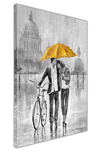 Lienzo impreso enmarcado, color blanco y negro, con el dibujo de una pareja romántica que lleva una bicicleta y sostiene un paraguas azul, amarillo, 02- A3 - 16' X 12' (40cm X 30cm)