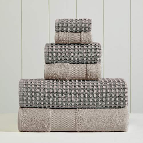 Amrapur Overseas 6-Piece Yarn Dyed Cobblestone Jacquard Towel Set, Charcoal