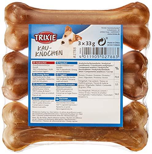TRIXIE 3 Huesos Prensados Piel, 35 g, 11 cm, Envasado, Perro ⭐