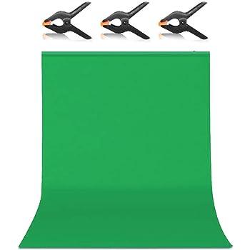 Hemmotop 背景布 緑 zoomのバーチャル背景 強力クリップ 2点付き 1.5m x 2.0m クロマキー バックペーパー グリーン 布バック ボール対応 スタジオ 暗幕 撮影用 背景 単色 みどり 布 ポリエステル 150 x 200 cm 父の日ギフト