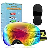 Zacro Maschera da Sci, Occhiali da Sci Ski Snowboard Antivento Anti Fog UV 400 Protezione Occhiali OTG a Doppia Lente per Sci, Snowboard, Motoslitta, Antiappannamento (Verde)