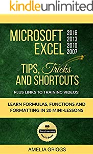 Microsoft Excel 2016 2013 2010 2007 Tips Tricks and Shortcuts: Learn Formulas, Functions and Formatting in 20 Mini-Lessons (Easy Learning Microsoft Office How-To Books Book 2)