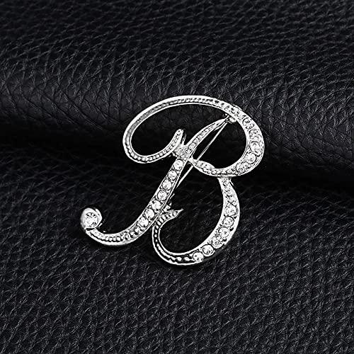 JJZXT Carta de la Moda Broche Lindo para Las Mujeres Hombres Rhinestones Color de Plata Metal Pines Tareas Joyería Accesorios (Color : B)