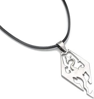 LANSHI Unisex The Elder Scrolls V Skyrim Symbol Dragon Logo Pendant Necklaces with Adjustable Black Rope Chain