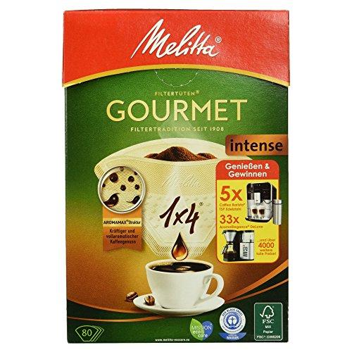 Melitta Gourmet Filtertüten, Intense, Aromamax Struktur, Naturbraun, 80 Stück
