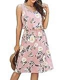 Kate Kasin Womens Floral Sleeveless Beach Dress Cover Up Pink Sun Dress Knee Length 2XL