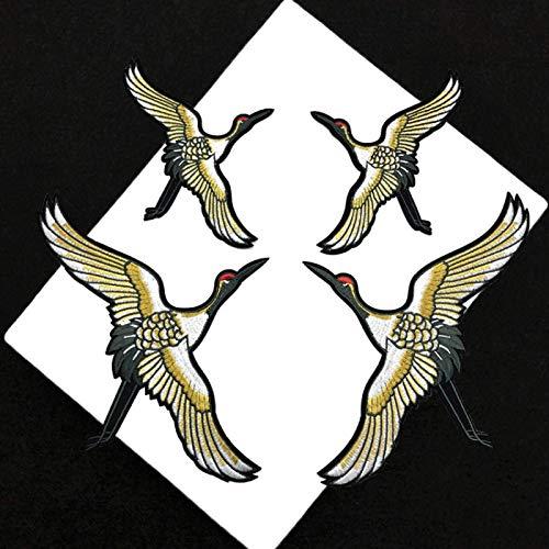 Patch Sticker,Parche termoadhesivo,Aplique de bordado adecuado para sombreros, chaquetas, abrigos, camisetas, combinación de grúa de corona roja 4 piezas