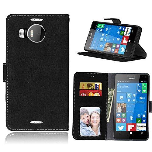 BgkjZX Cover Nokia Microsoft Lumia 950XL - per Nokia Microsoft Lumia 950XL Custodia in Pelle Opaca,Custodia per Cellulare con Flip Card Anti-Caduta - Nero