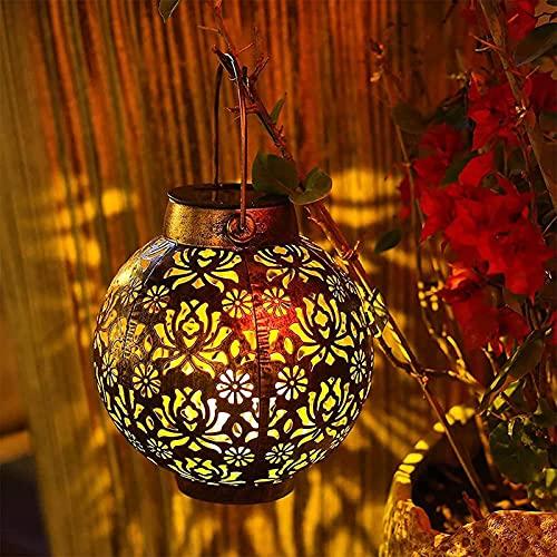 GQFGYYL Lanterne Solari per Esterni da Giardino Pensili per Cortile, Cortile Anteriore, Terrazza O Portico,002,4 Pieces