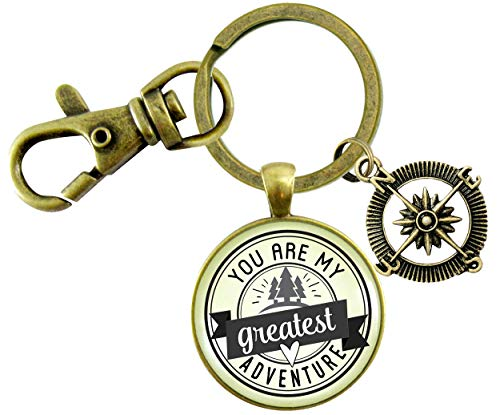 Gutsy Goodness You Are My Greatest Adventure Keychain Outdoors Romantic Couple Jewelry Gift Compass