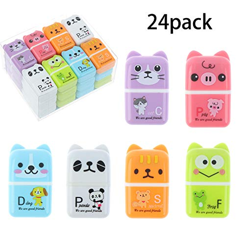 24 Pieces Erasers Roller Erasers Portable Cube Pencil Flexible Rubber Cute Animal Durable Soft Erasers Gift Eraser with Roller Cases for School, Office, Kids(6 Patterns)