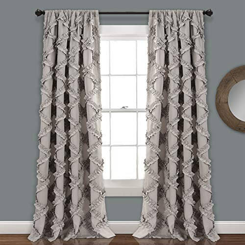 "Lush Decor, Gray Ruffle Diamond Curtains Textured Window Panel Set for Living, Dining Room, Bedroom (Pair), 84"" x 54, 84' x 54'"