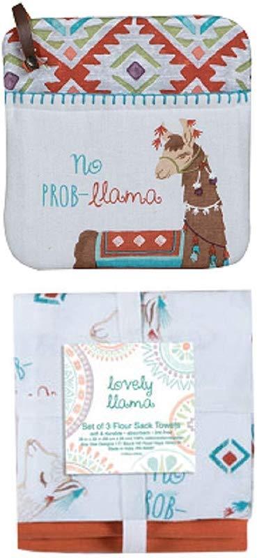 Kay Dee Designs 4 Piece Lovely Llama Kitchen Bundle 3 Flour Sack Towels And 1 Potholder
