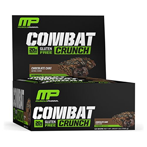 MusclePharm Combat Crunch Protein Bar, 20g Protein, Chocolate Cake Bars, 12 Count