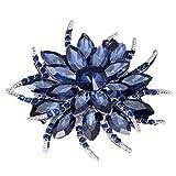 YAZILIND Delicada Gran Flor Rhinestones aleacion Zirconia Broche Corse Mujeres Ninas Accesorios (Tinta Azul)