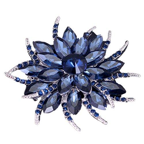 Yazilind Art und Weise große Blume Rhinestones Legierungs-Zirconia-Brosche Corsagee Frauenmädchen Zusätze (Tinte blau)