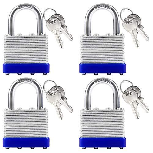 Vorhängeschloss (4er-Set) - Schlösser 6,5 x 4 x 1,5cm - 2x Schlüssel, 40 mm Sicherheits Schloss für Außenbereiche, Zuhause, Garage, Fitnessstudio, Schrank, Zaun, Fahrrad