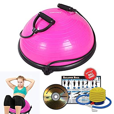 RitFit Balance Ball Trainer with Resistance Bands (Free Exercise Wall Chart, Air Pump, Resistance Bands)