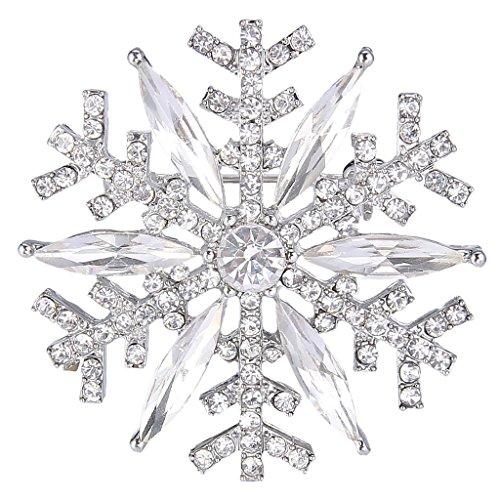 EVER FAITH Silver-Tone Austrian Crystal Winter Art Deco Snowflake Flower Brooch Pin