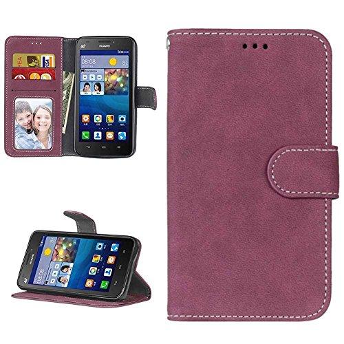 Huawei Y635 Hülle Leder Tasche, Huawei Y635 Handyhülle Klassisch Brieftasche Stoßfest Schutzhülle Elegant Handytasche Flip Hülle Cover Magnetverschluss Schale Standfunktion, Rot