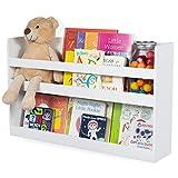 brightmaison Children's Kids Room White Floating Wall Shelf Wood Bunk Bed Decor Nursery Room Books and Toys Organization Storage Bookshelf Decor - Ships Assembled