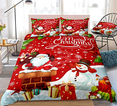 Christmas Bedding Queen Set Santa Claus Duvet Cover Set Winter Snowman Snowflakes Pattern Printed Red Xmas Bedding Queen 1 Duvet Cover 2 Pillowcases (Red 1, Queen)