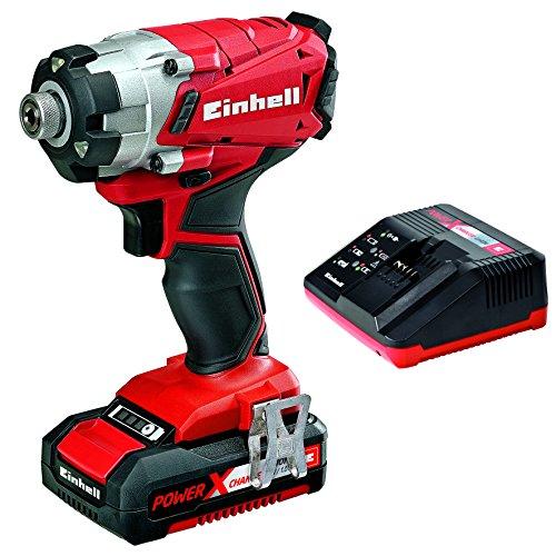 Einhell Expert TE-CI 18 Li Kit - Atornillador de impacto con batería (batería de 1,5 Ah litio, acero inoxidable, luz integrada), color rojo y negro